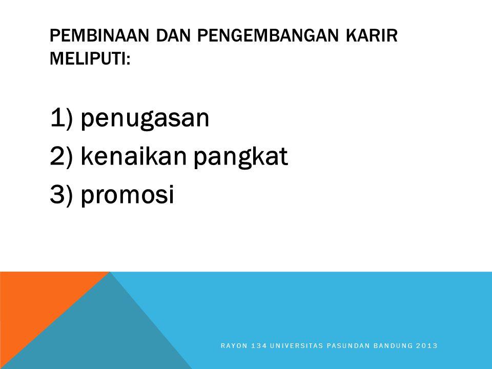Pembinaan dan pengembangan karir meliputi: