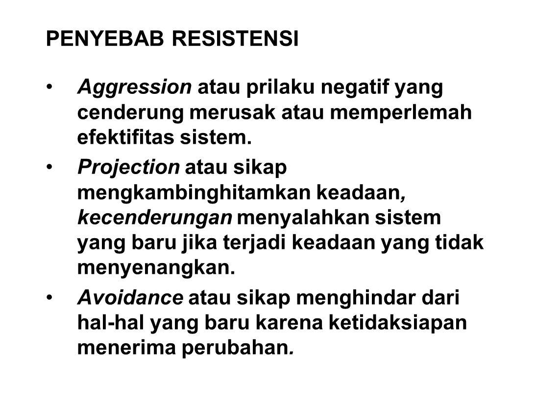PENYEBAB RESISTENSI Aggression atau prilaku negatif yang cenderung merusak atau memperlemah efektifitas sistem.