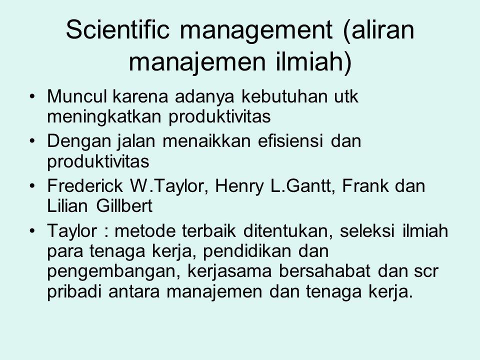 Scientific management (aliran manajemen ilmiah)