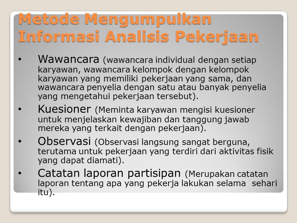 Metode Mengumpulkan Informasi Analisis Pekerjaan