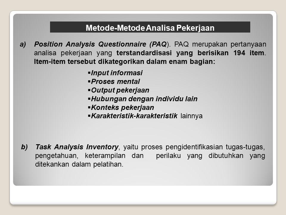 Metode-Metode Analisa Pekerjaan