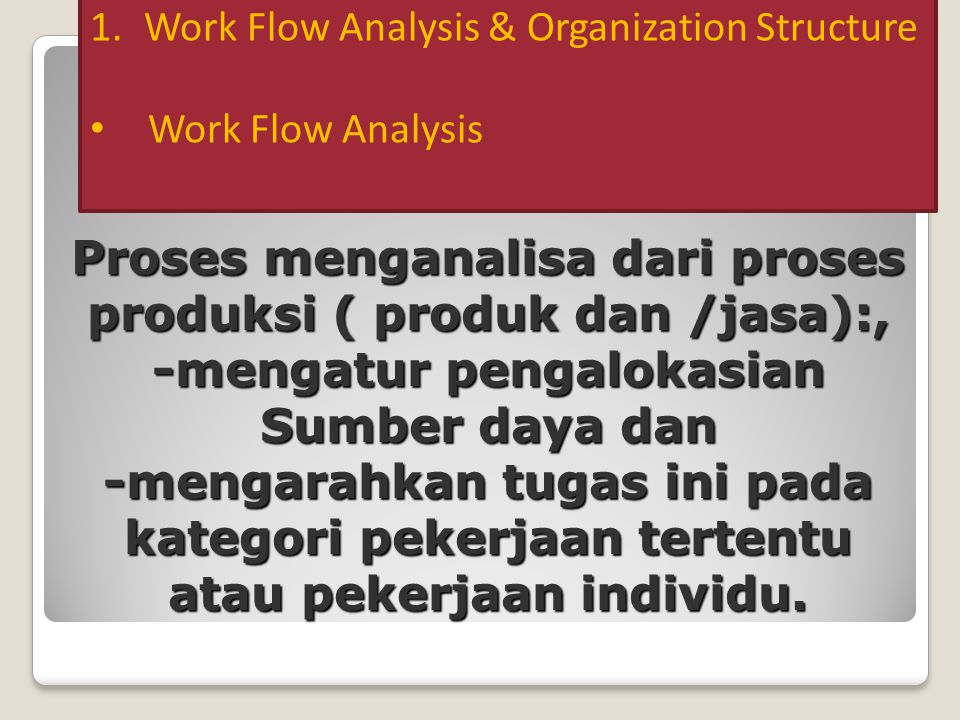 Work Flow Analysis & Organization Structure