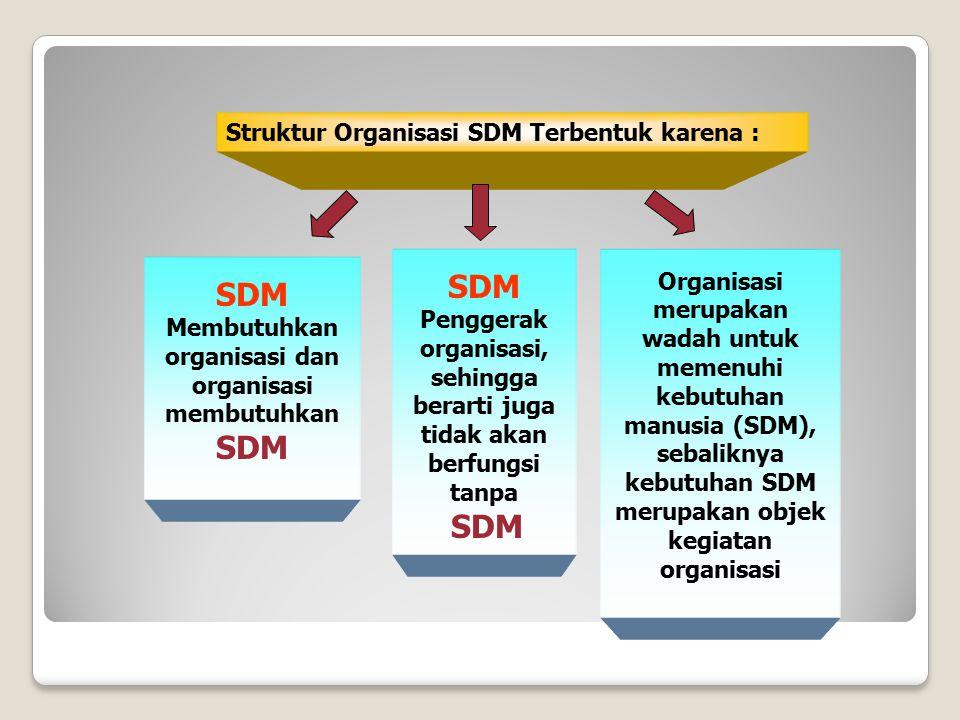 SDM SDM Struktur Organisasi SDM Terbentuk karena :