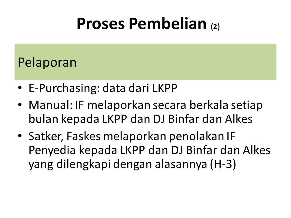 Proses Pembelian (2) Pelaporan E-Purchasing: data dari LKPP