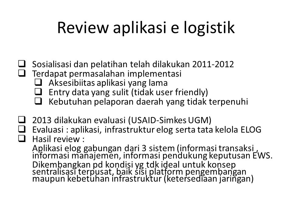 Review aplikasi e logistik