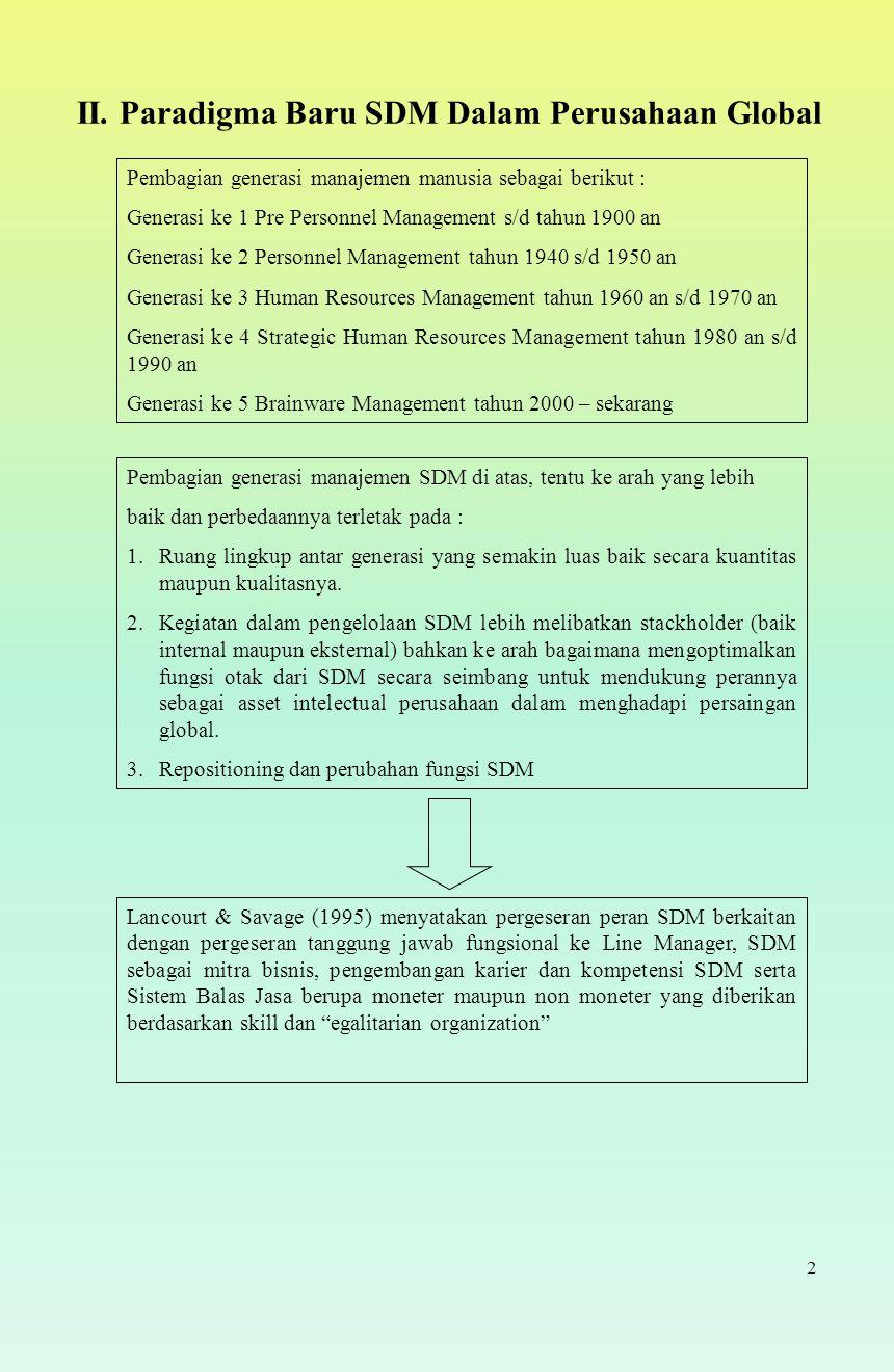 II. Paradigma Baru SDM Dalam Perusahaan Global