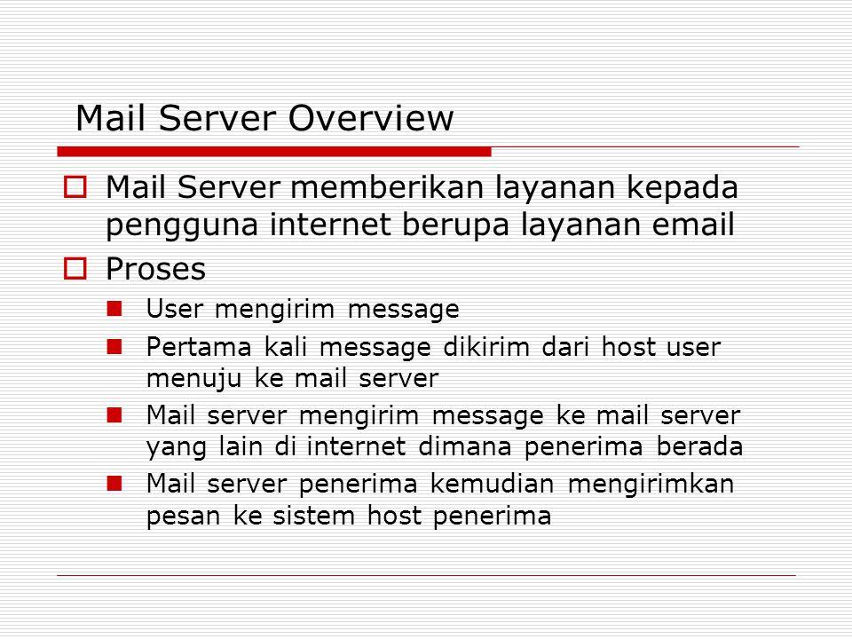 Mail Server Overview Mail Server memberikan layanan kepada pengguna internet berupa layanan email. Proses.