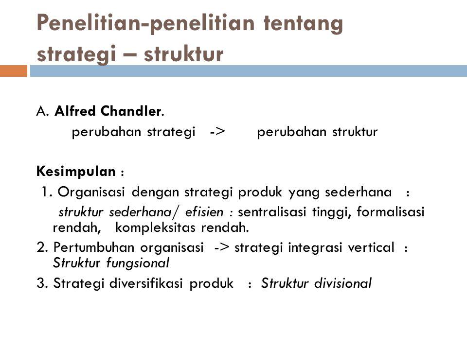 Penelitian-penelitian tentang strategi – struktur