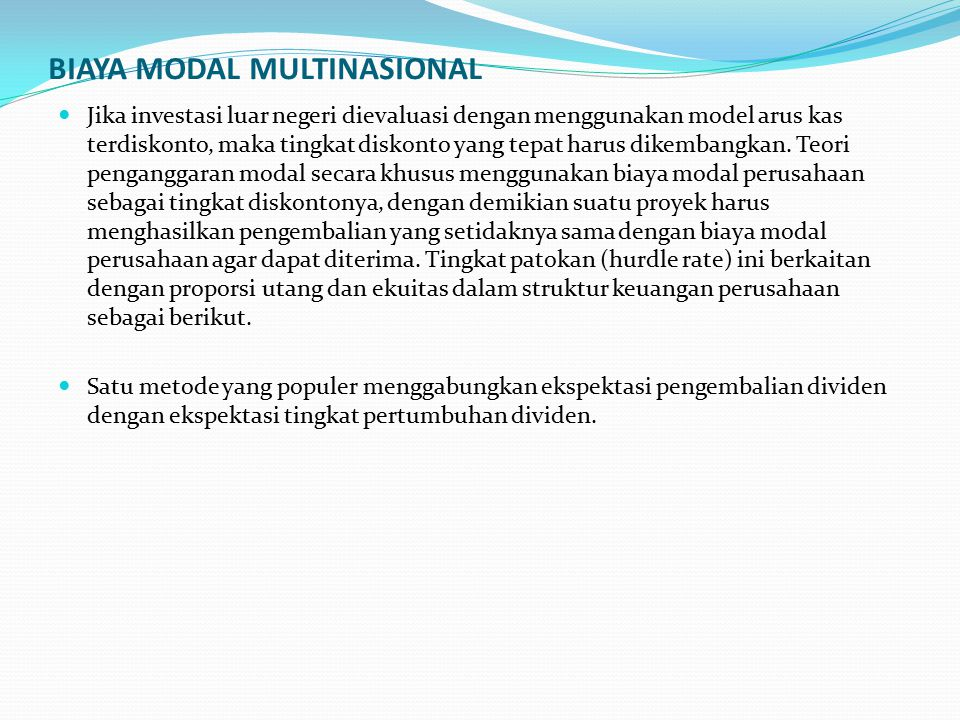 BIAYA MODAL MULTINASIONAL