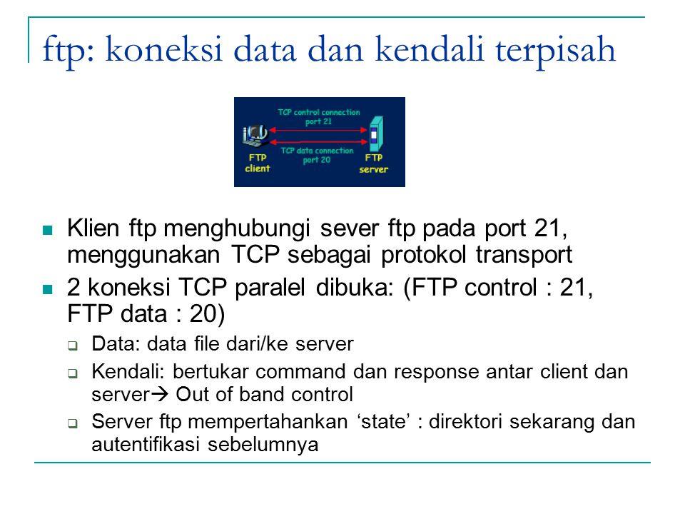 ftp: koneksi data dan kendali terpisah