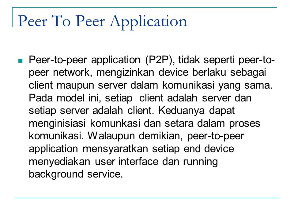 Peer To Peer Application