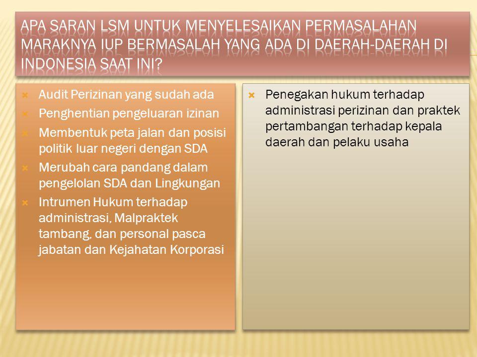 Apa saran LSM untuk menyelesaikan permasalahan maraknya IUP bermasalah yang ada di daerah-daerah di Indonesia saat ini