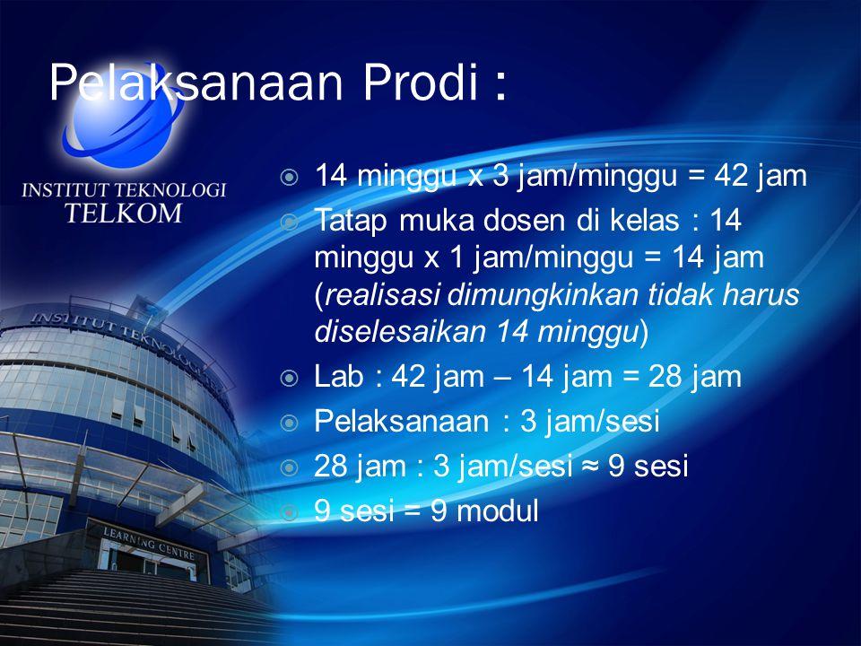 Pelaksanaan Prodi : 14 minggu x 3 jam/minggu = 42 jam