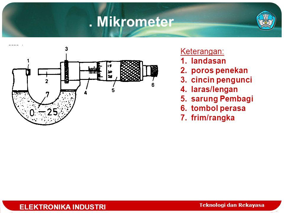 . Mikrometer Keterangan: landasan poros penekan cincin pengunci