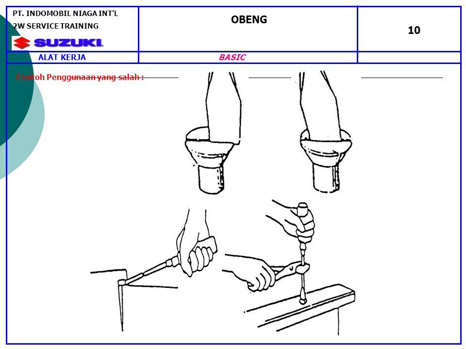 OBENG 10 BASIC ALAT KERJA Contoh Penggunaan yang salah :