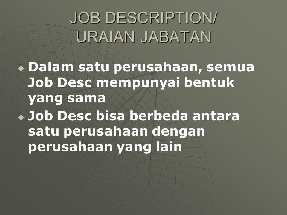 JOB DESCRIPTION/ URAIAN JABATAN