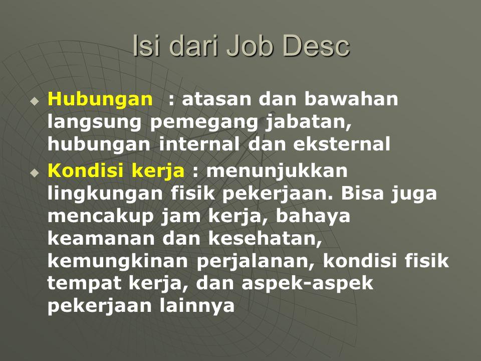 Isi dari Job Desc Hubungan : atasan dan bawahan langsung pemegang jabatan, hubungan internal dan eksternal.