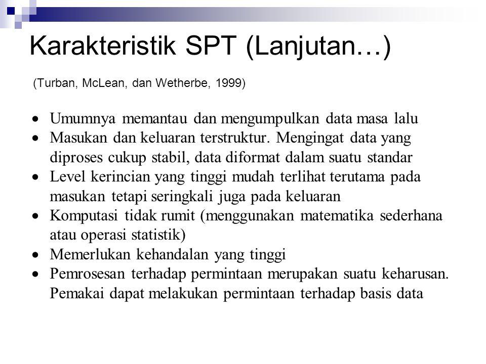 Karakteristik SPT (Lanjutan…) (Turban, McLean, dan Wetherbe, 1999)