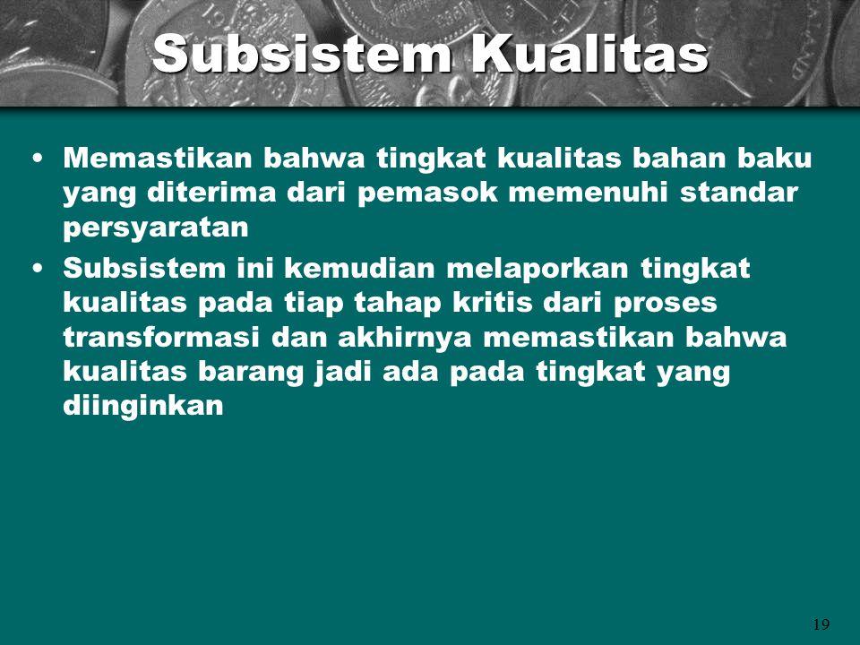 Subsistem Kualitas Memastikan bahwa tingkat kualitas bahan baku yang diterima dari pemasok memenuhi standar persyaratan.