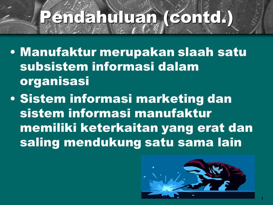 Pendahuluan (contd.) Manufaktur merupakan slaah satu subsistem informasi dalam organisasi.