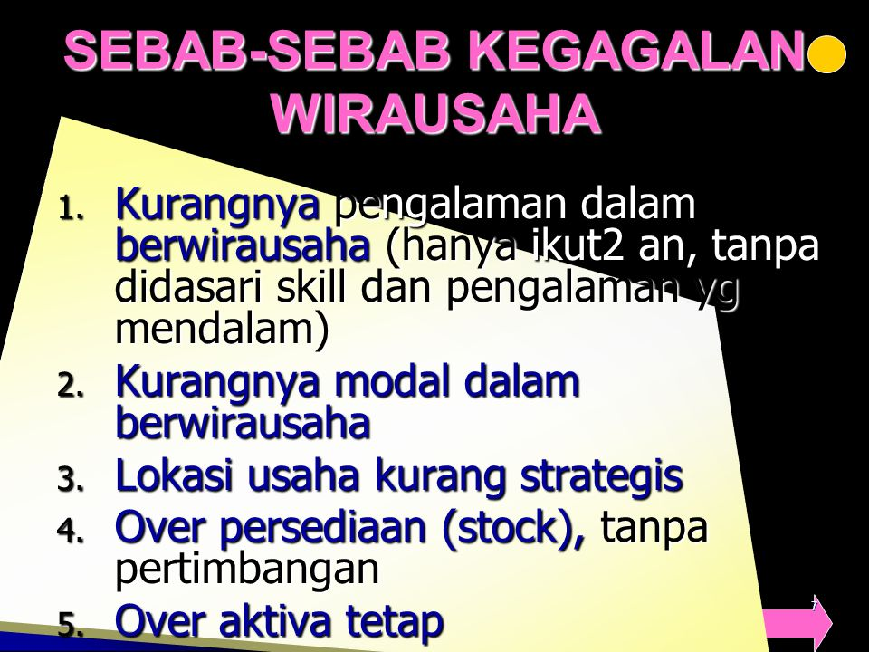 SEBAB-SEBAB KEGAGALAN WIRAUSAHA