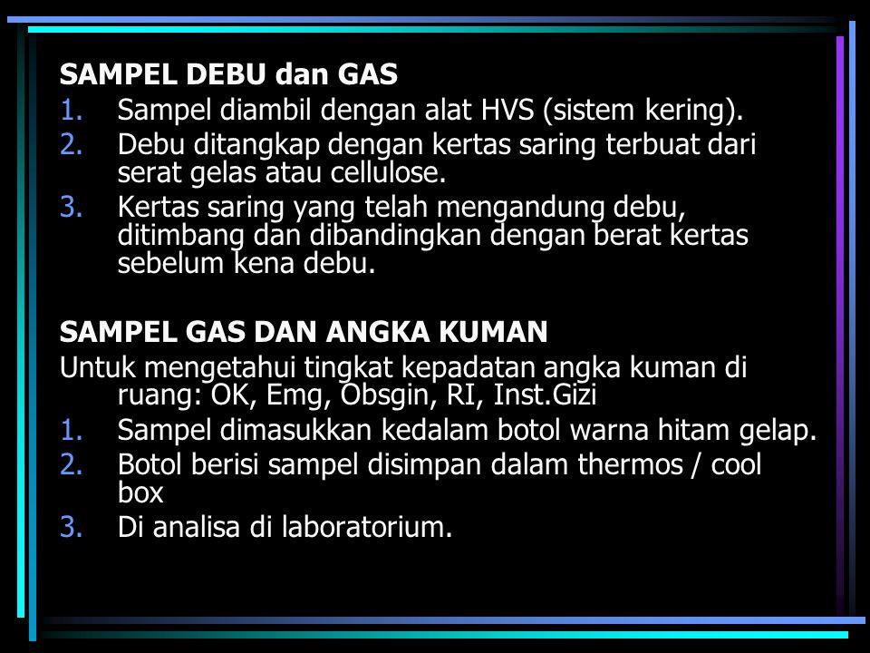 SAMPEL DEBU dan GAS Sampel diambil dengan alat HVS (sistem kering). Debu ditangkap dengan kertas saring terbuat dari serat gelas atau cellulose.