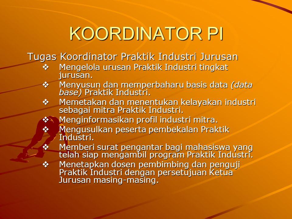 KOORDINATOR PI Tugas Koordinator Praktik Industri Jurusan