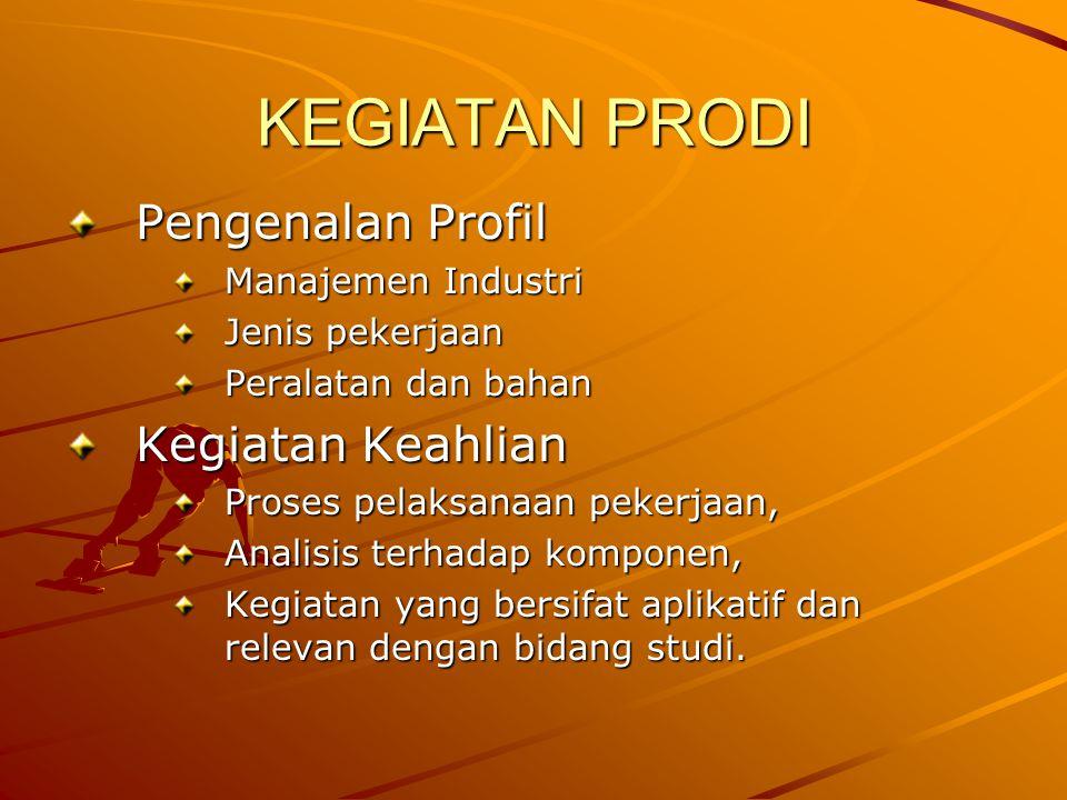 KEGIATAN PRODI Pengenalan Profil Kegiatan Keahlian Manajemen Industri