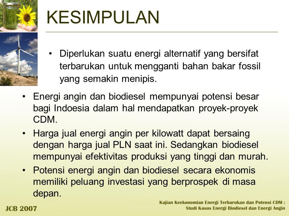 KESIMPULAN Diperlukan suatu energi alternatif yang bersifat terbarukan untuk mengganti bahan bakar fossil yang semakin menipis.