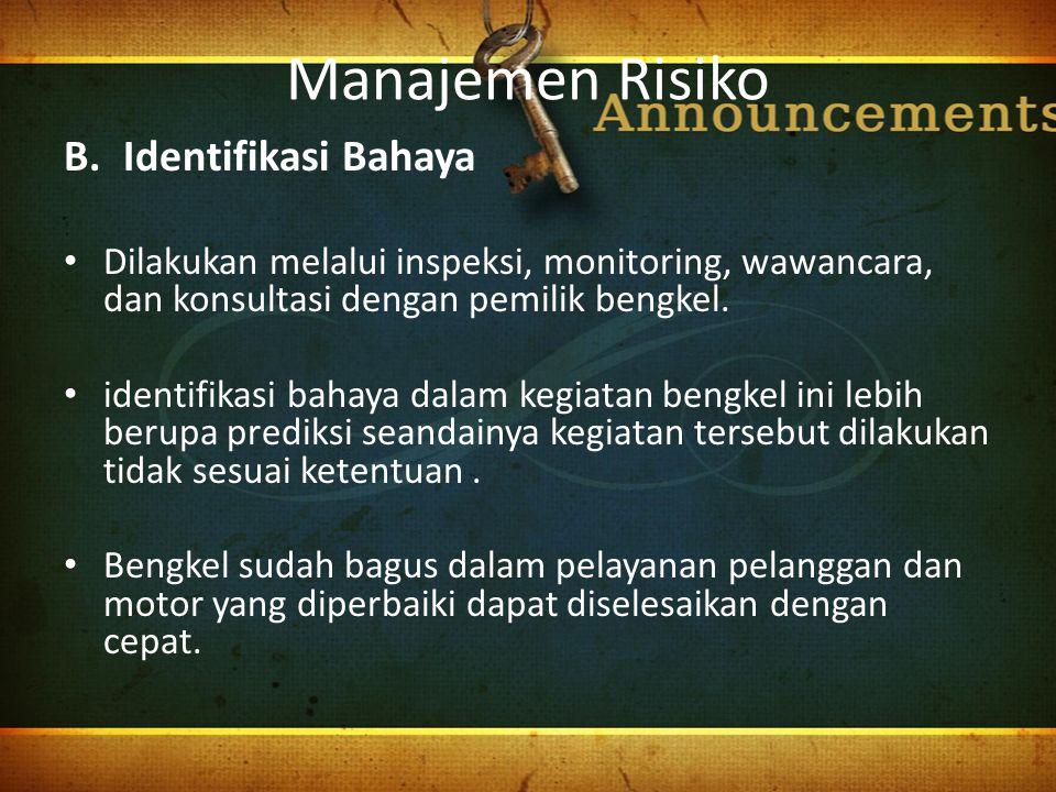 Manajemen Risiko Identifikasi Bahaya