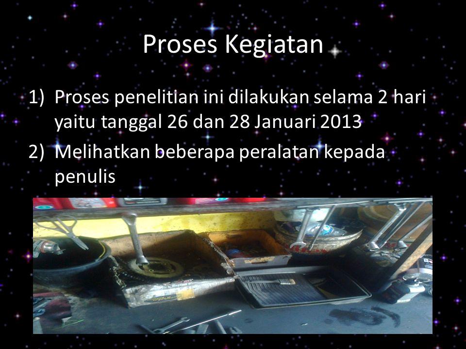 Proses Kegiatan Proses penelitian ini dilakukan selama 2 hari yaitu tanggal 26 dan 28 Januari 2013.