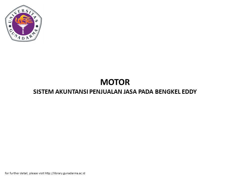 MOTOR SISTEM AKUNTANSI PENJUALAN JASA PADA BENGKEL EDDY