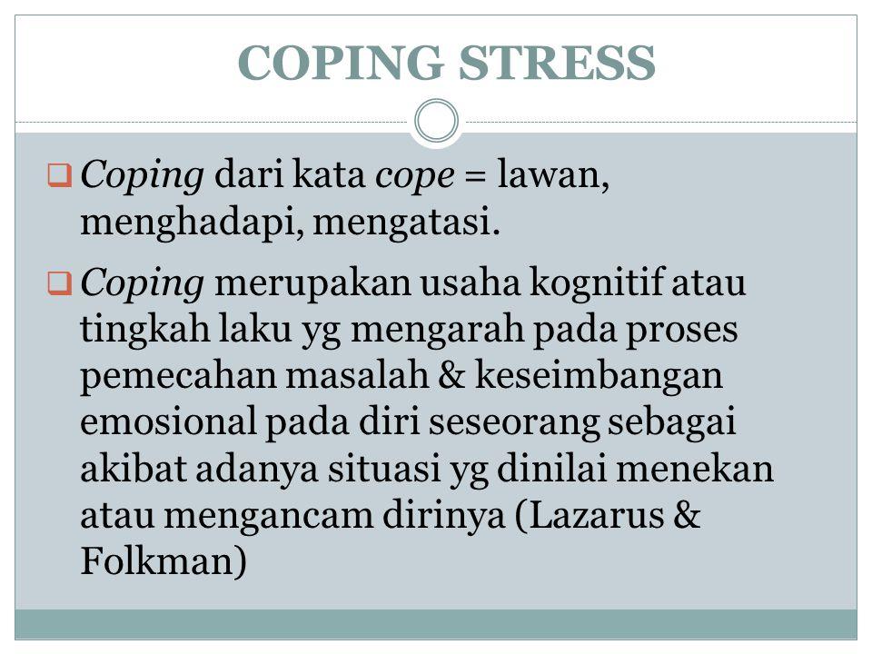 COPING STRESS Coping dari kata cope = lawan, menghadapi, mengatasi.