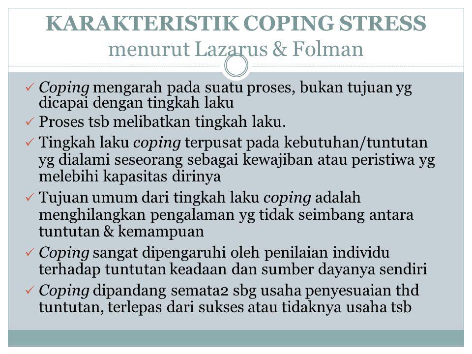 KARAKTERISTIK COPING STRESS menurut Lazarus & Folman