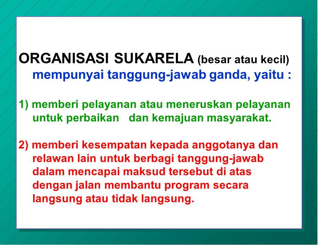 ORGANISASI SUKARELA (besar atau kecil) mempunyai tanggung-jawab ganda, yaitu :