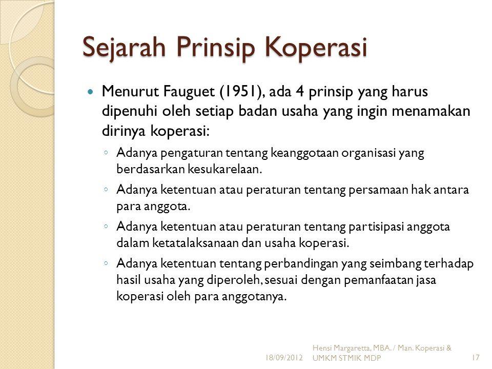 Sejarah Prinsip Koperasi