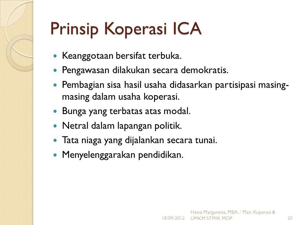 Prinsip Koperasi ICA Keanggotaan bersifat terbuka.