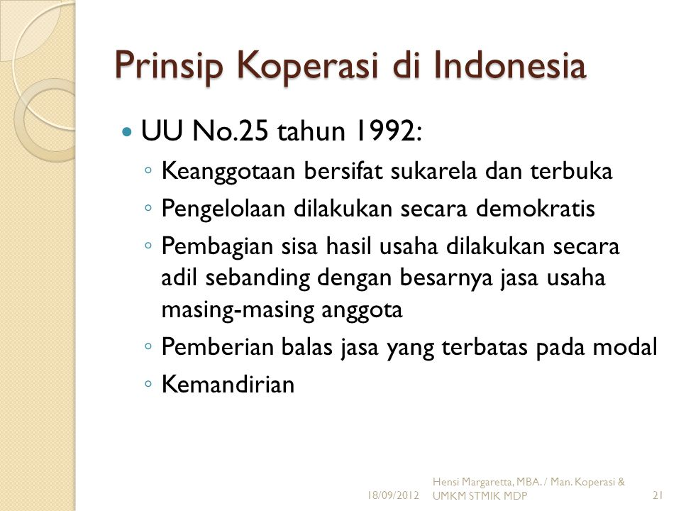 Prinsip Koperasi di Indonesia