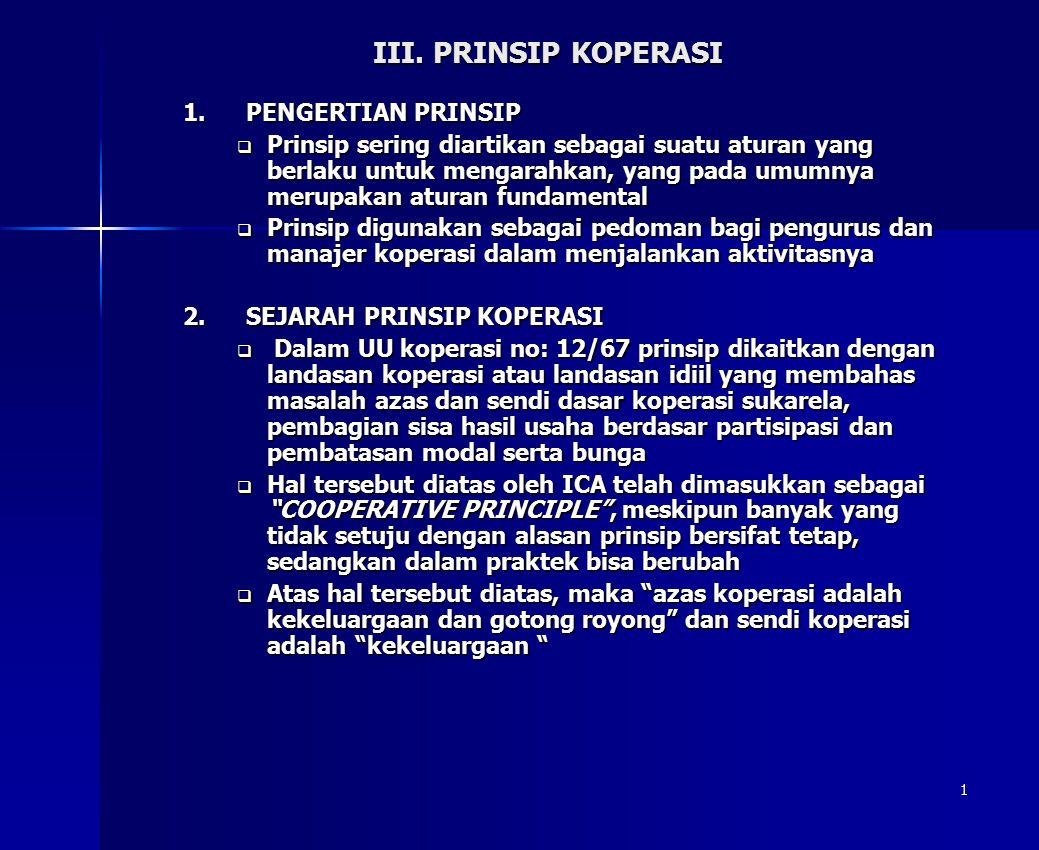 III. PRINSIP KOPERASI PENGERTIAN PRINSIP