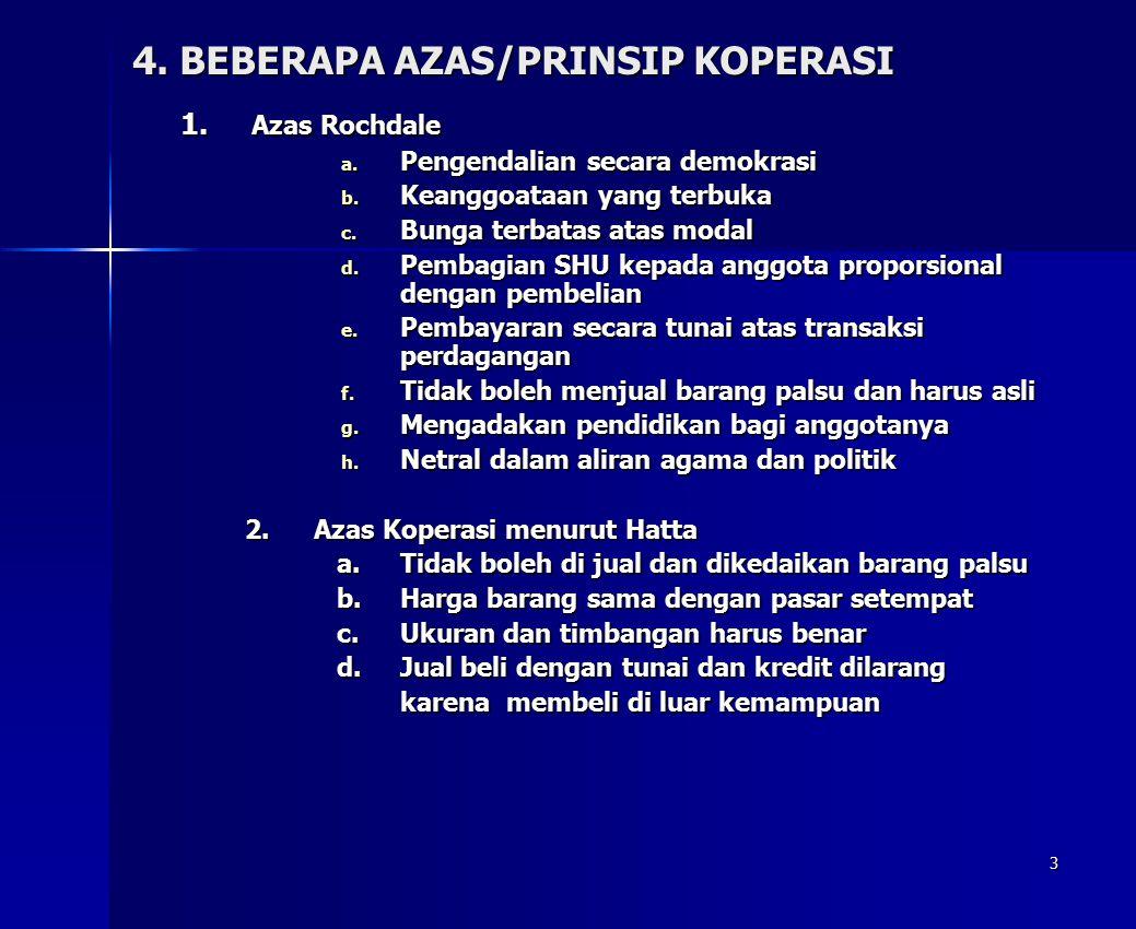 4. BEBERAPA AZAS/PRINSIP KOPERASI