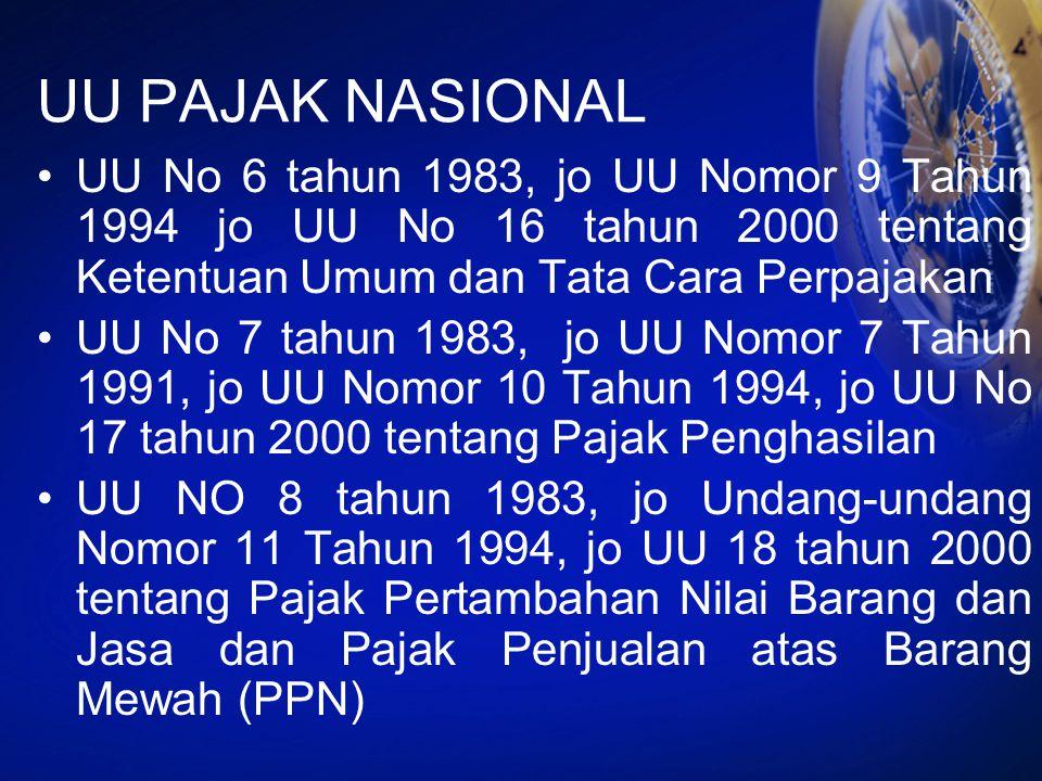 UU PAJAK NASIONAL UU No 6 tahun 1983, jo UU Nomor 9 Tahun 1994 jo UU No 16 tahun 2000 tentang Ketentuan Umum dan Tata Cara Perpajakan.