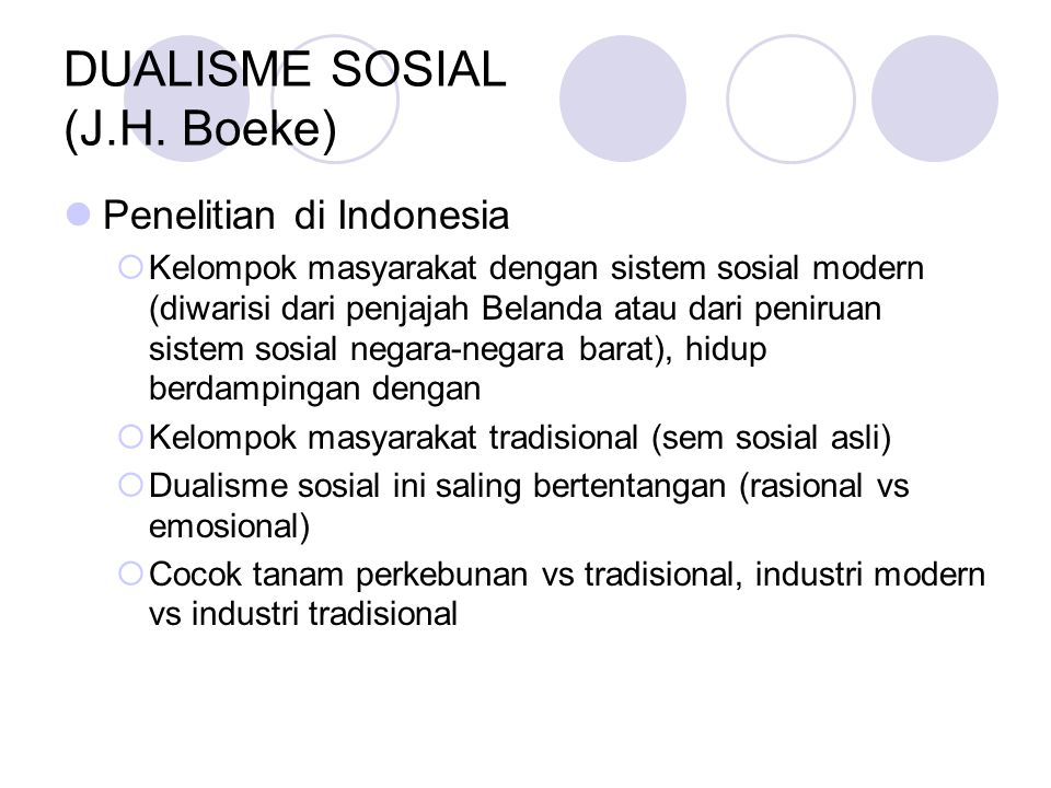 DUALISME SOSIAL (J.H. Boeke)