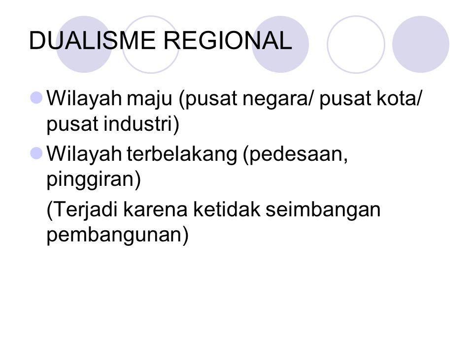 DUALISME REGIONAL Wilayah maju (pusat negara/ pusat kota/ pusat industri) Wilayah terbelakang (pedesaan, pinggiran)