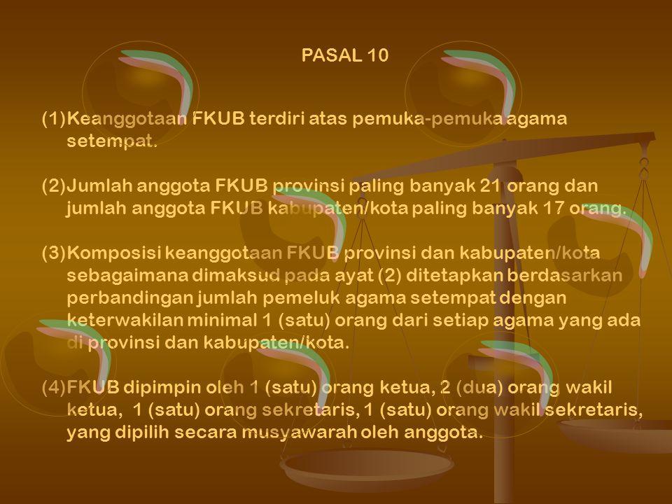 Keanggotaan FKUB terdiri atas pemuka-pemuka agama setempat.