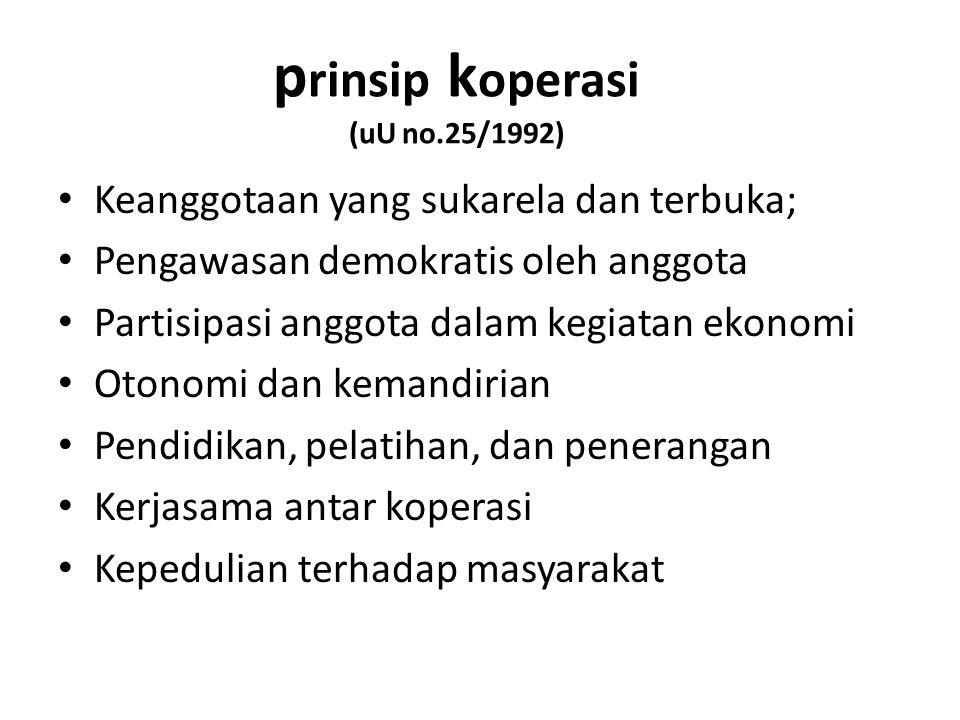 prinsip koperasi (uU no.25/1992)