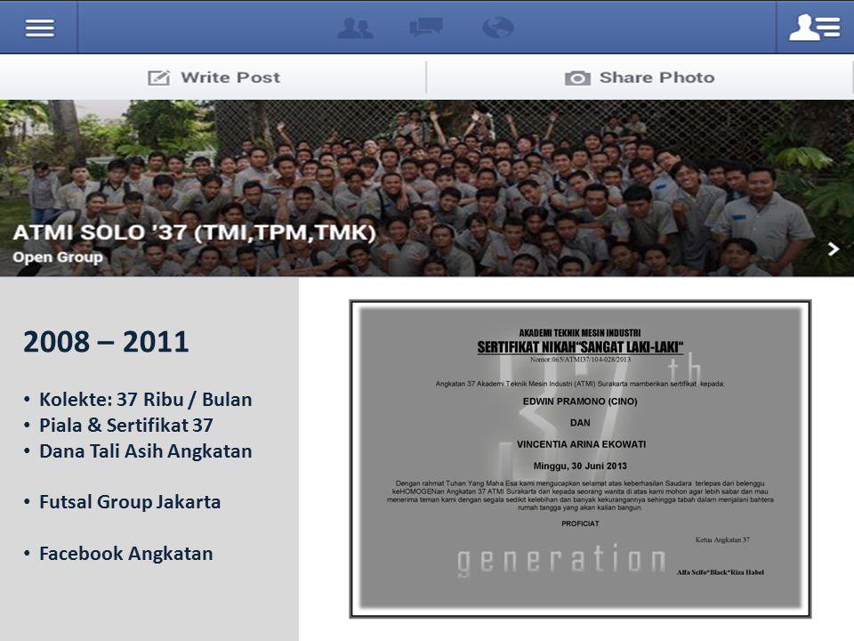 2008 – 2011 Kolekte: 37 Ribu / Bulan Piala & Sertifikat 37