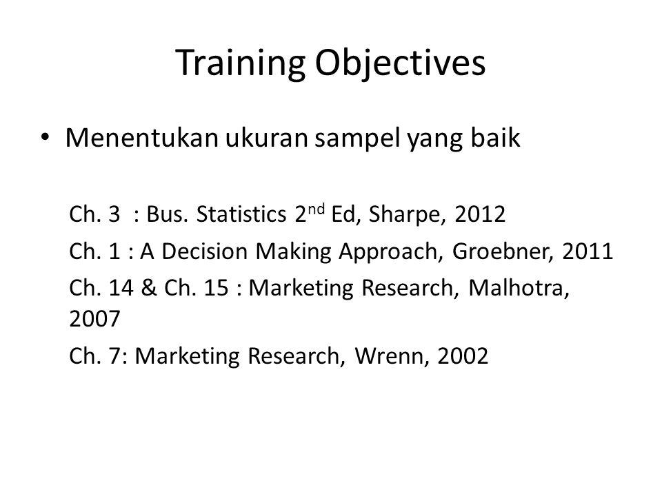 Training Objectives Menentukan ukuran sampel yang baik