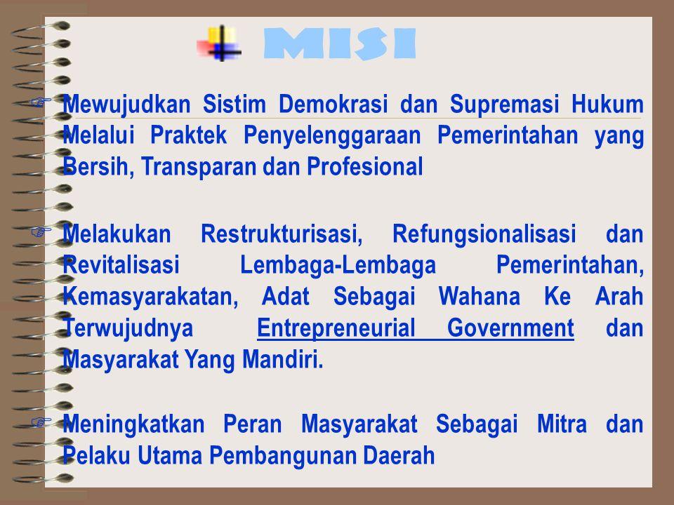MISI Mewujudkan Sistim Demokrasi dan Supremasi Hukum Melalui Praktek Penyelenggaraan Pemerintahan yang Bersih, Transparan dan Profesional.