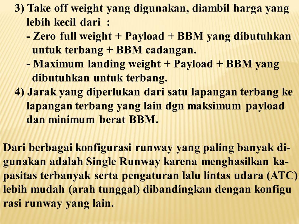 3) Take off weight yang digunakan, diambil harga yang