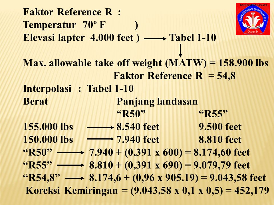 Faktor Reference R : Temperatur 70º F ) Elevasi lapter 4.000 feet ) Tabel 1-10.